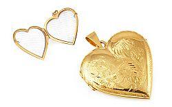 Zlatý medailón na fotku srdiečko s gravírom IZ9493