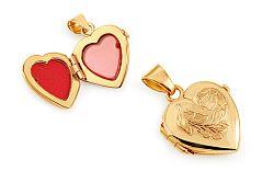 Zlatý medailón na fotku srdiečko s gravírovaným kvietkom IZ11474