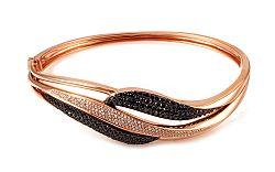 Zlatý náramok s čiernymi diamantmi Elya IZBR276