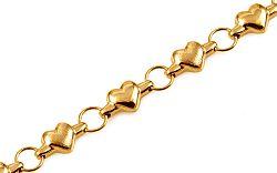Zlatý náramok srdiečka a krúžky IZ11125