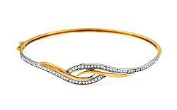 Zlatý obručový náramok so zirkónmi IZ10523
