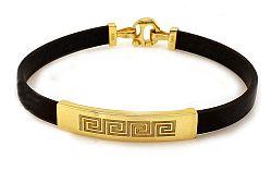 Zlatý pánsky kaučukový náramok ROMEO 3 IZ4774