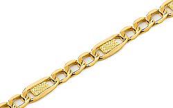 Zlatý pánsky náramok Figaro s platničkami 1 IZ6734
