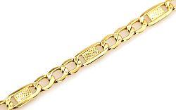 Zlatý pánsky náramok FIGARO s platničkou IZ4824
