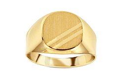 Zlatý pánsky pečatný prsteň s matovaním IZ11508