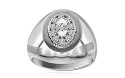 Zlatý pánsky prsteň gravírovaný so zirkónmi IZ1613