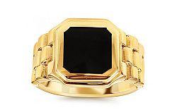 Zlatý pánsky prsteň s čiernym ónyxom Watch IZ10668