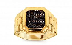 Zlatý pánsky prsteň s čiernymi zirkónmi Watch IZ10669