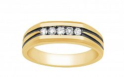 Zlatý pánsky prsteň s diamantmi KU465
