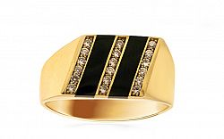Zlatý pánsky prsteň s ónyxom a zirkónmi IZ8590