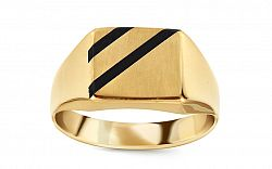 Zlatý pánsky prsteň s ónyxom IZ11509