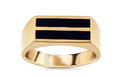 Zlatý pánsky prsteň s ónyxom IZ11513
