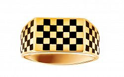 Zlatý pánsky prsteň šachovnica s ónyxom IZ2174