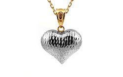 Zlatý prívesok dvojfarebné gravírované srdce IZ9925A