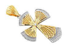 Zlatý prívesok kríž s kamienkom vypletaný IZ5857