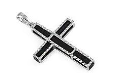 Zlatý prívesok kríž s kaučukom biely IZ9661