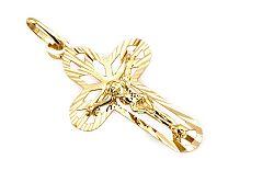 Zlatý prívesok kríž s umučením gravírovaný IZ4605