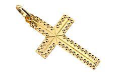 Zlatý prívesok Krížik gravírovaný IZ5307