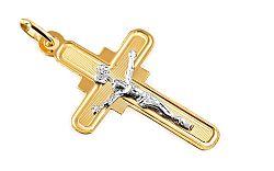 Zlatý prívesok krížik s umučením IZ7608