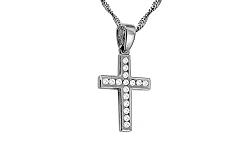 Zlatý prívesok krížik so zirkónmi IZ10496A