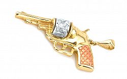 Zlatý prívesok pištoľ IZ3025