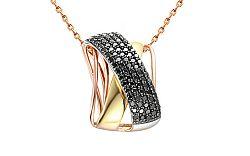 Zlatý prívesok s čiernymi diamantmi 0,950 ct IZBR123PC