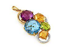 Zlatý prívesok s diamantmi a drahými kameňmi Dayana IZBR283P