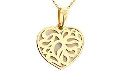Zlatý prívesok vzorované srdce IZ8279