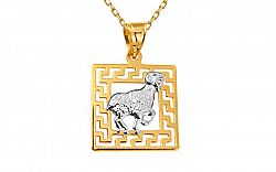 Zlatý prívesok znamenie Baran kombinovaný IZ10464