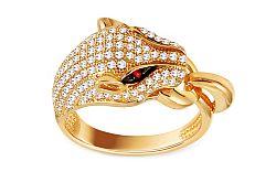 Zlatý prsteň Panther so zirkónmi IZ11454