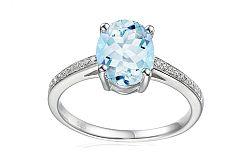 Zlatý prsteň s akvamarínom a diamantmi Riva IZBR282