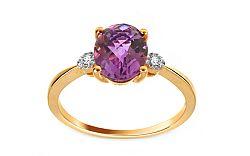 Zlatý prsteň s ametystom a diamantmi Wivine KU311