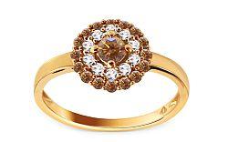 Zlatý prsteň s briliantmi KU369