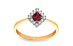 Zlatý prsteň s červeným zirkónom CS9RI1915B