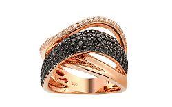 Zlatý prsteň s čiernymi briliantmi 1,150 ct IZBR081RP