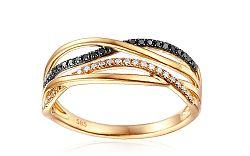 Zlatý prsteň s čiernymi diamantmi 0,140 ct IZBR094PY