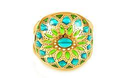 Zlatý prsteň s glazúrou Turquoise IZ10016