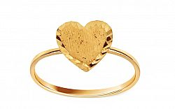 Zlatý prsteň s gravírovaným srdcom IZ10857