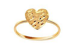 Zlatý prsteň s gravírovaným srdcom IZ10860