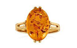 Zlatý prsteň s jantárom Joidy IZ9189