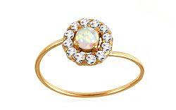 Zlatý prsteň s opálom a zirkónmi IZ9522