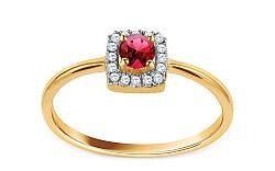 Zlatý prsteň s rubínom a diamantmi Rubis CSBRI010