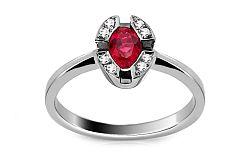 Zlatý prsteň s rubínom a diamantmi Solange ARBR33AR