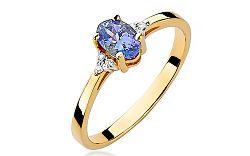 Zlatý prsteň s tanzanitom a diamantmi Aurea BSBR037T