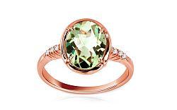 Zlatý prsteň so zeleným ametystom Brigitte IZ6214