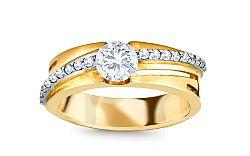 Zlatý prsteň so zirkónmi CSRI1263