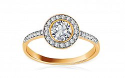 Zlatý prsteň so zirkónmi Jacklyn IZ8443