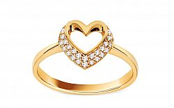Zlatý prsteň so zirkónovým srdcom IZ11157