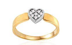 Zlatý prsteň srdce so zirkónmi IZ10696