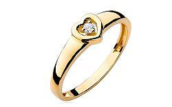 Zlatý srdiečkový zásnubný prsteň s diamantom Emmelie BSBR003